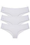 Kadın Beyaz Brazilian Panty Lazer Kesim Külot 3 'lü Paket Set