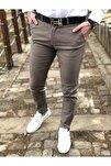Erkek Kahverengi İtalyan Kesim Petek Desen Keten Pantolon