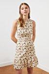 Krem Çiçek Desenli Elbise TWOSS20EL1234