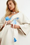 Mavi Balık Nakışlı Keten Kimono&Kaftan TBESS20KM0051