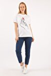 Kadın Beyaz Parmak Kalp T-shirt