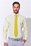 Erkek Sarı Beyaz Çizgili Pamuk Gömlek