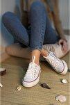 Kadın Beyaz Keten Casual Spor Ayakkabı