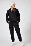 Kadın Siyah Kapüşonlu Polarlı Eşofman Takımı  DD00762