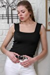 Kadın Siyah Kare Yaka Triko Bluz M10010200BL95565