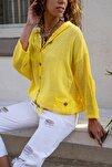 Kadın Sarı Yıkamalı Keten Fileli Bağlamalı Kapüşonlu Bluz GK-RSD2021