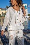 Kadın Ekru Yıkamalı Keten Fileli Bağlamalı Kapüşonlu Bluz GK-RSD2021
