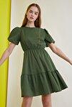Yeşil Balon Kollu Elbise TWOSS21EL0675