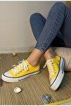 Kadın Sarı Keten Casual Spor Ayakkabı