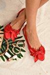 Kadın Kırmızı Saten Kumaş Babet H726809004