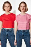 Kırmızı-Çok Renkli %100 Pamuk Bisiklet Yaka 2'li Paket Crop Örme  T-Shirt TWOSS20TS1480
