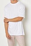 Erkek Beyaz Oversize Basic T-shirt