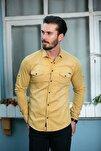 Sarı Cepli Kot Gömlek Slim Fit