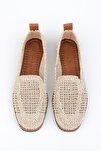 Kadın Bej Örgü Hasır Loafer Ayakkabı Toliva