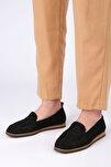 Kadın Siyah Örgü Hasır Loafer Ayakkabı Toliva