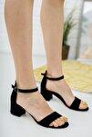 Siyah Süet Tek Bant Topuklu Ayakkabı