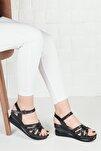 Kadın Topuklu Sandalet Terlik Siyah Deri Bilekten Bağlamalı