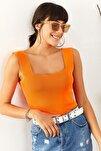 Kadın Neon Turuncu Kalın Askılı Yazlık Triko Bluz BLZ-19000853