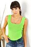 Kadın Neon Yeşil Kalın Askılı Yazlık Triko Bluz BLZ-19000853