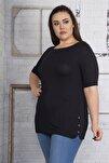 Kadın Siyah Yanları Süs Çıtçıt Düğmeli Viskon Bluz 65N22751