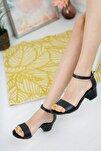 Kadın Siyah Cilt Tek Bant Topuklu Ayakkabı