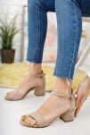 Vizon Süet Tek Bant Topuklu Ayakkabı