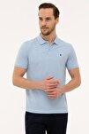 Erkek Açık Mavi Slim Fit Polo Yaka T-Shirt