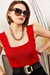 Kadın Kırmızı Kalın Askılı Yazlık Triko Bluz BLZ-19000853