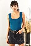 Kadın Petrol Mavisi Kalın Askılı Yazlık Triko Bluz BLZ-19000853