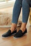 Kadın Lacivert Deri Delikli Rahat Taban Casual Sneakers Ayakkabı Byndgur01