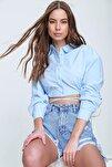 Kadın Mavi Bağcıklı Crop Poplin Gömlek ALC-X6039
