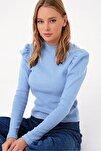 Kadın Bebe Mavi Prenses Kol Yarım Balıkçı Şardonlu Crop Bluz ALC-X5042