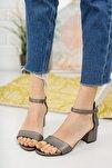 Kadın Platin Tek Bant Topuklu Ayakkabı