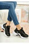Kadın Siyah Beyaz Dolgu Topuk Ortopedik Spor Ayakkabı