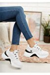 Kadın Beyaz Siyah Dolgu Topuk Ortopedik Spor Ayakkabı