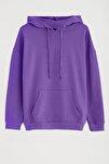 JANE Kadın Mor Basic Kapüşonlu Sweatshirt