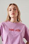 Lila Nakışlı Boyfriend Örme T-Shirt TWOSS20TS0228