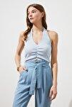 Mavi Fırfır Detaylı Fitilli Örme Bluz TWOSS21BZ0691