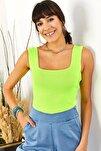 Kadın Neon Sarı Kalın Askılı Yazlık Triko Bluz BLZ-19000853