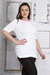 Kadın Beyaz Yanları Süs Çıtçıt Düğmeli Viskon Bluz 65N22751