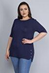 Kadın Lacivert Yanları Süs Çıtçıt Düğmeli Viskon Bluz 65N22751