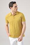 Erkek Safran Rengi Regular Fit Pike Dokulu T-shirt