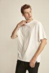 JETT Beyaz Erkek Basic Bol Kesim T-shirt