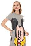 Camel Melanj Mickey Baskılı Elbise