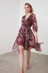 Kahverengi Kuşaklı Desenli Elbise TWOSS19XO0114