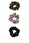 Kadın Yeşil 3'Lü Çiçek Desenli Saç Lastiği Paketi 00239009