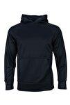 Siyah Spor Sweatshirt- Basic Fleece Hoodie