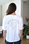 Beyaz Sırtı Baskılı Örme T-Shirt TWOSS20TS0121