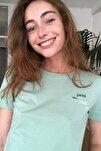 Mint Nakışlı Crop Örme T-Shirt TWOSS20TS1462