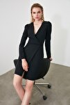 Siyah Kruvaze Elbise TWOAW20EL1341